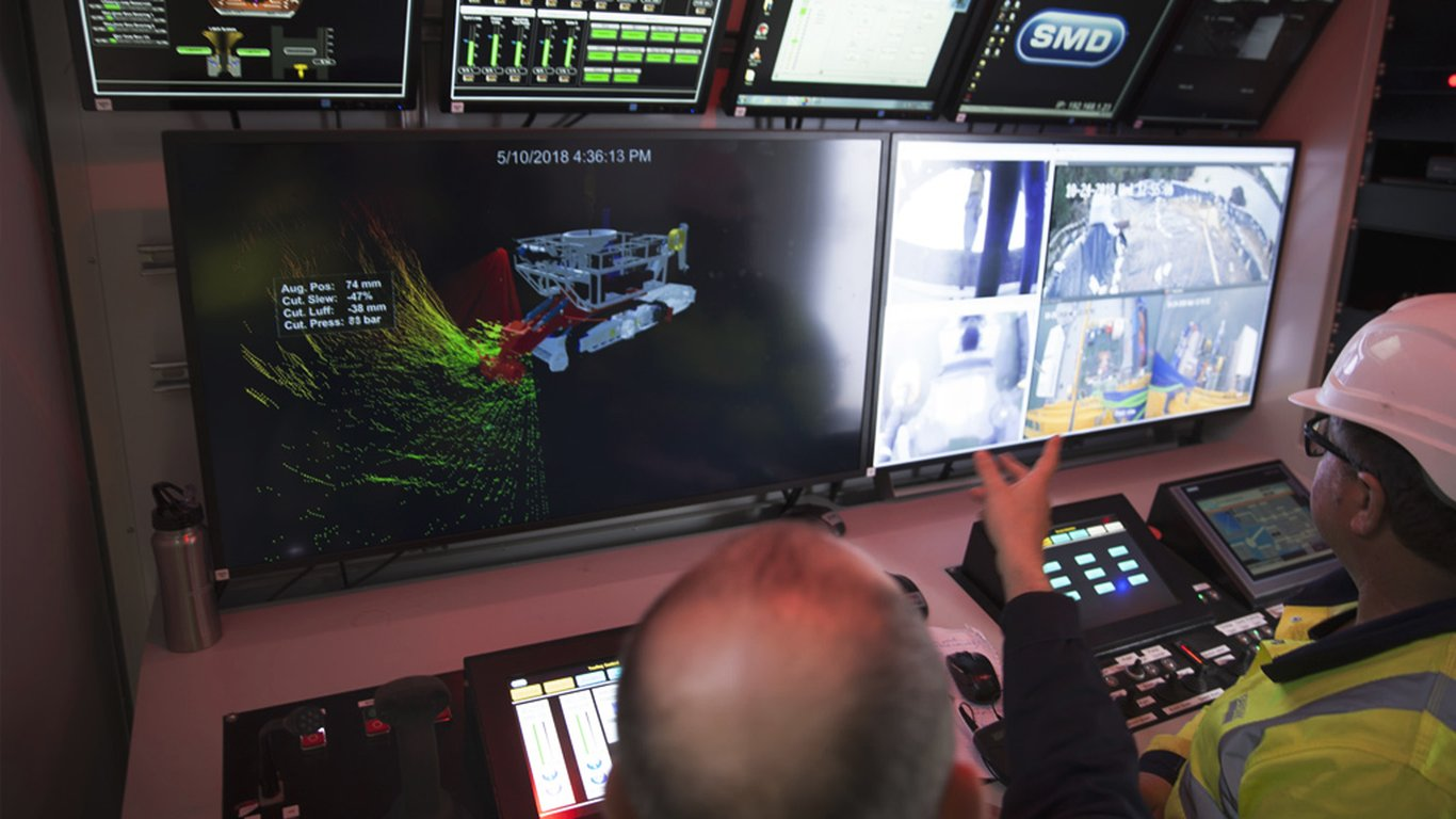 <p>The control cabin is where all the real-time data generates a virtual reality image of the operations underwater.</p>
