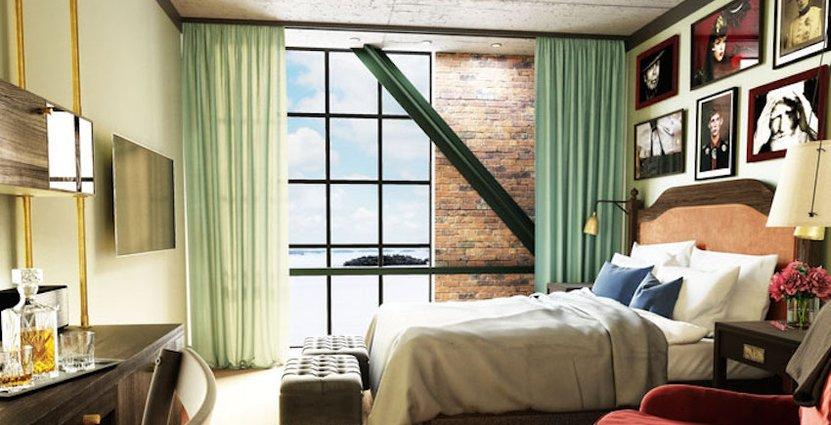 I hotellrummen kombineras gamla detaljer med nya.