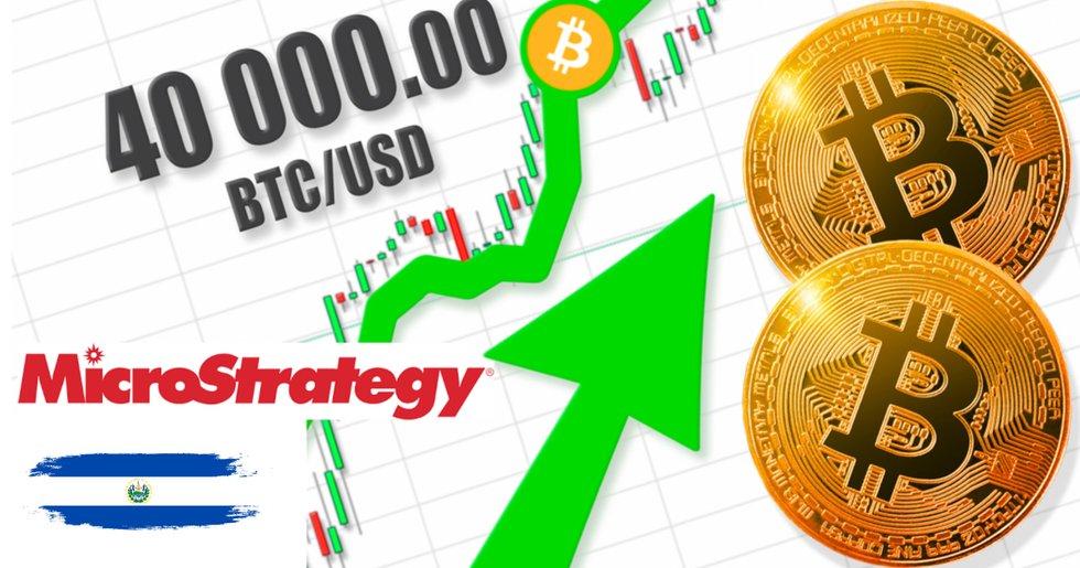 Bitcoinpriset över 40 000 dollar – har ökat 32 procent på mindre än en vecka