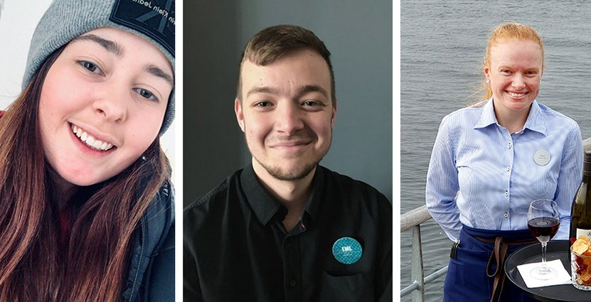 Alva Hansson, Emil Åbom och Maja Svensson blev Årets sommarjobbare. Foto: Årets sommarjobbare