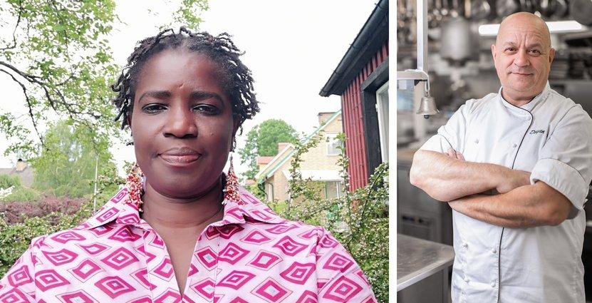 Banna Thioubou, Eures-rådgivare på arbetsförmedlingen, <br /> och Dragan Unic, kökschef på Stufvenäs Gästgifveri i Kalmar. Foto: Privat/Stufvenäs Gästgifveri