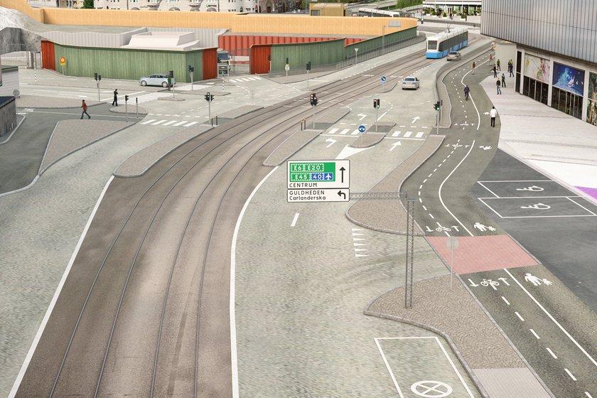 Korsvägen från Södra Vägen (Mölndalshållet). Bild: Trafikverket