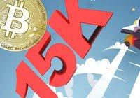 Bitcoinpriset når 15 000 dollar – för första gången på 3 år