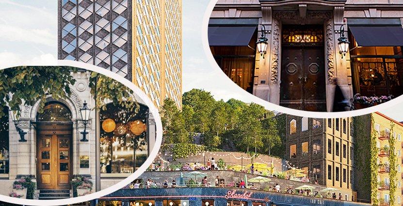 Avenyfamiljen är den senaste i raden av krogkoncerner<br />  att ge sig in på hotellmarknaden. Fotomontage: Nobis, Avenyfamiljen, Bank Hotel