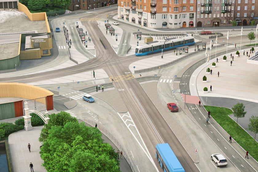 Korsvägen från Örgrytevägen. Bild: Trafikverket