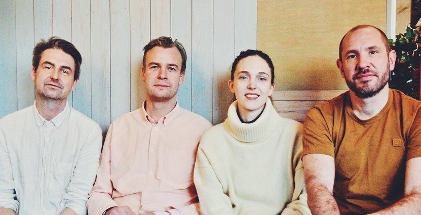 Dubbel Dubbel-grundarna Lars Olsson, John Wigelius, Emma Kolback, Erik Sundfeldt. Foto: Mia Redemo
