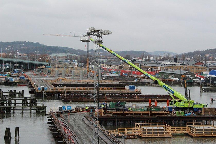 Bygget av Hisingsbron från Centralenområdet (bild tagen i januari 2108). Foto: Trafik Göteborg