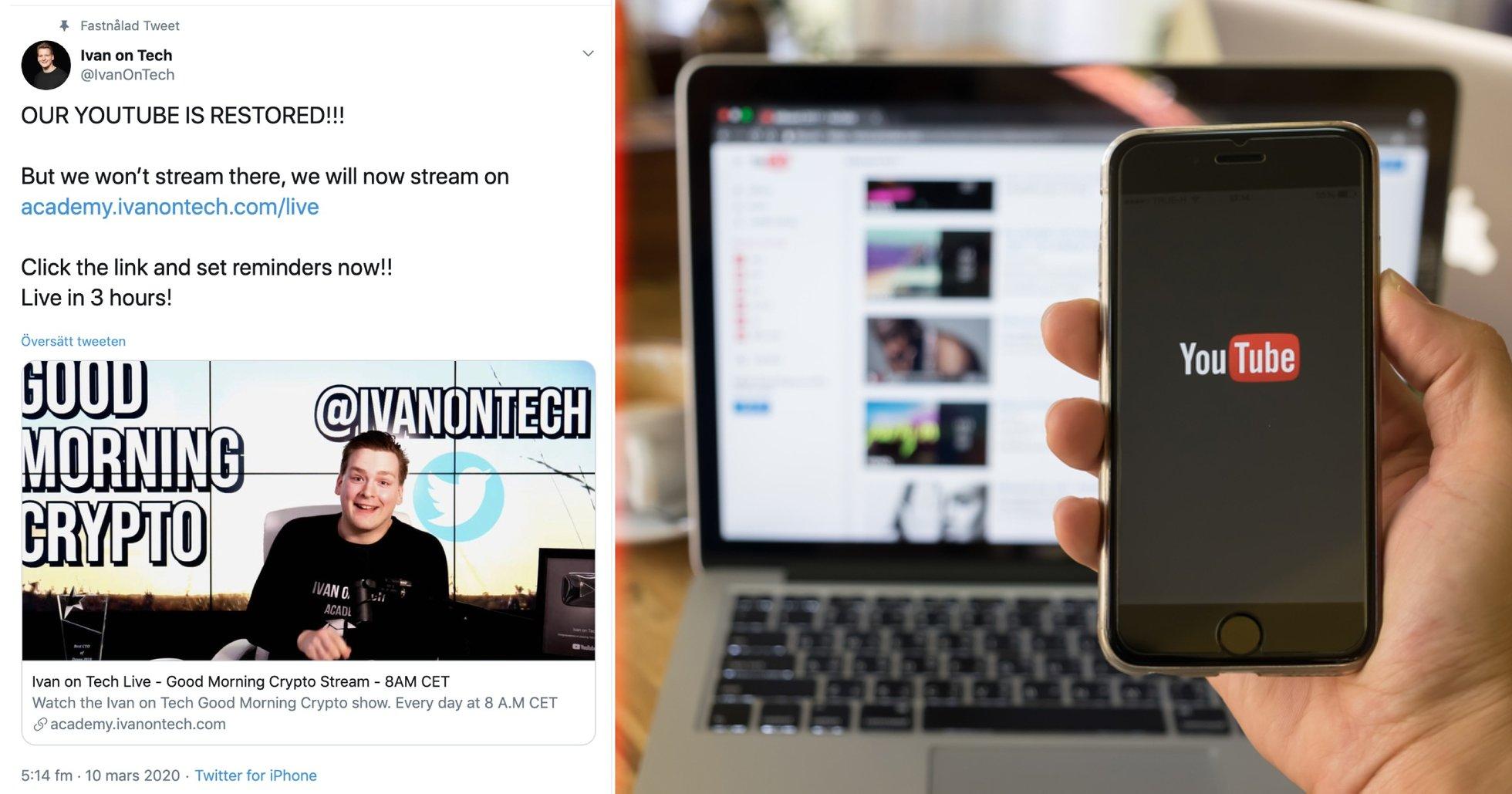 Efter ännu en nertagning – svenska bitcoinkanalen Ivan on Tech slutar streama på Youtube