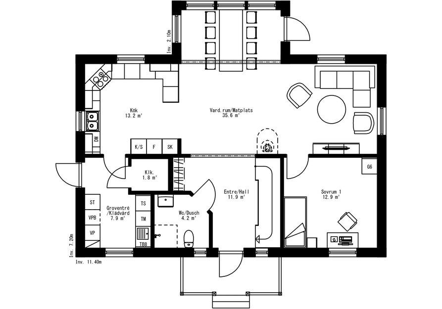 Planritning för Villa Sandslån