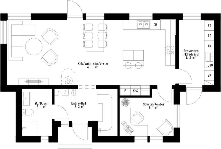 Planritning för Villa Alnö
