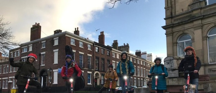 Musicians on Voi e-scooters bring joy to elderly Liverpool residents during lockdown