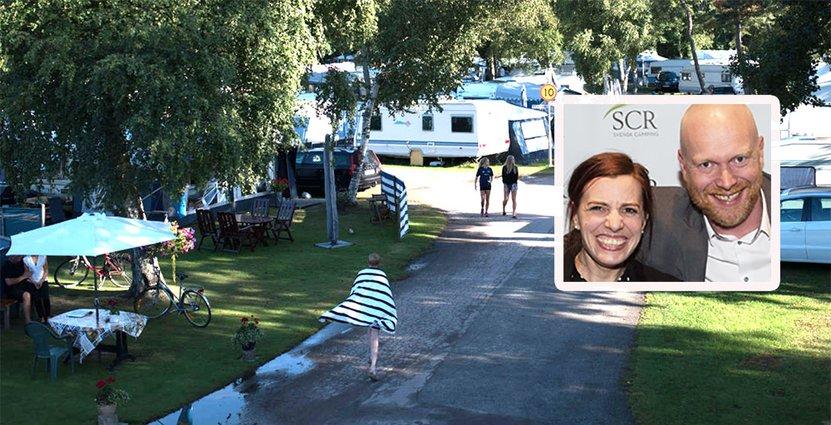 Madelene Bernaxel och Peo Nilsson är glada för SCRs utmärkelse Årets Campingföretagare. Foto: Råbocka Camping, SCR