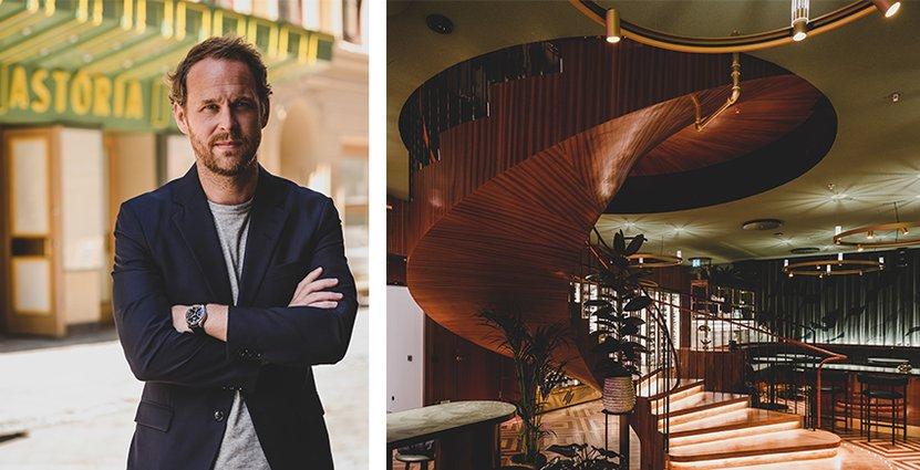 En ståtlig spiraltrappa binder ihop Brasserie Astorias<br /> två plan och totala yta på 1200 kvadratmeter.  Foto: Pressbilder