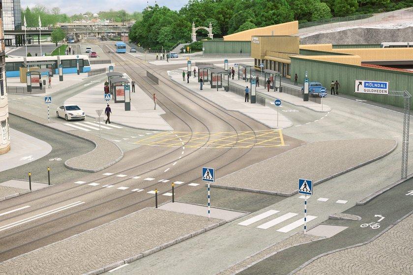 Korsvägen från Södra Vägen (cityhållet). Bild: Trafikverket
