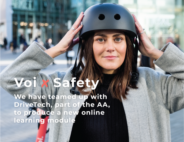 Girl in helmet on an e-scooter promoting DriveTech partnership