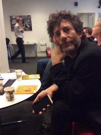 Neil Gaiman på besök i Stockholm, maj 2014.