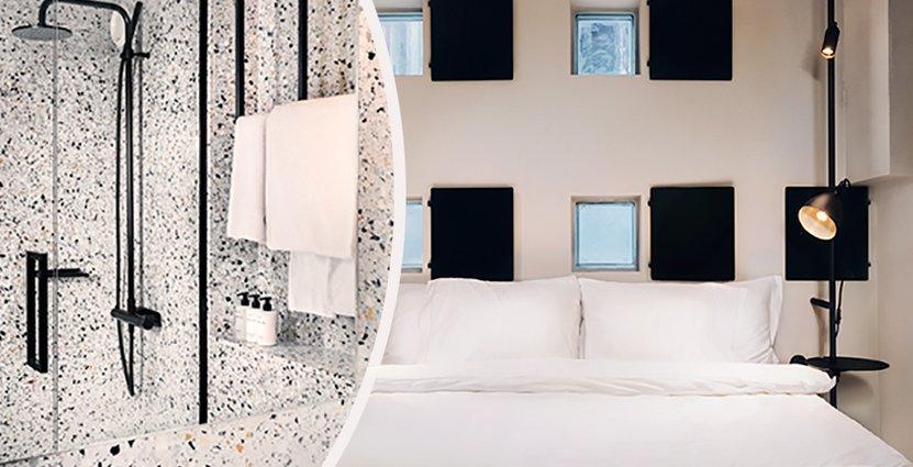 Betongdetaljerna finns kvar i Bliques rum för att ge en industriell känsla. Foto: Blique