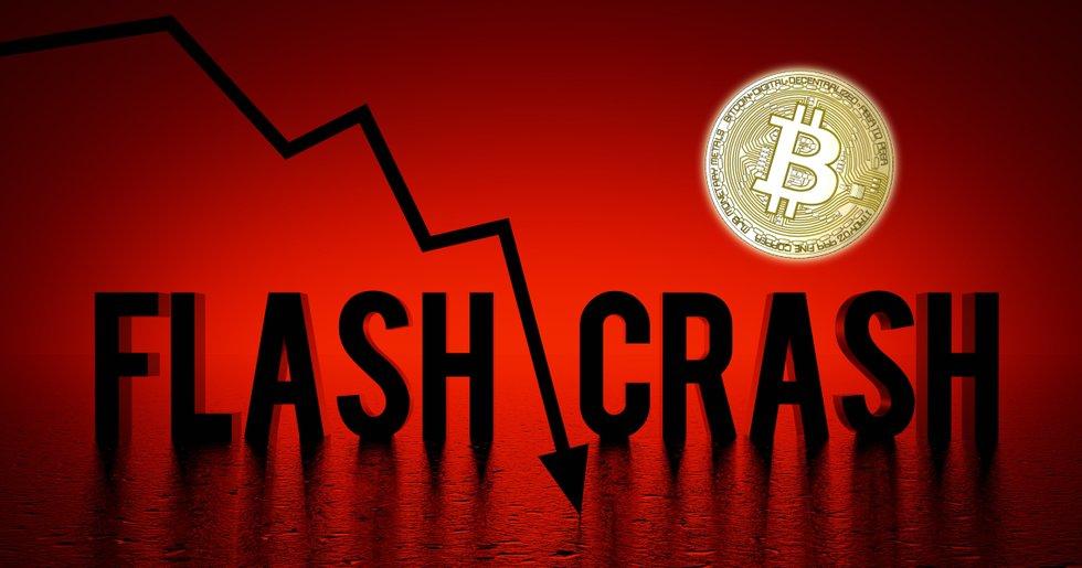 Mörkröda siffror för bitcoinpriset – rasar 14 procent i
