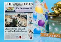 I dag fyller bitcoin tio år – Bitmex firar med att köpa annons på framsidan av The Times