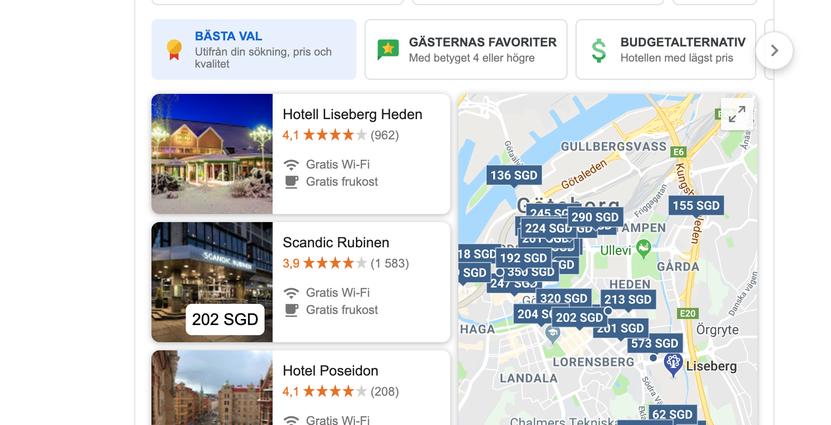 Google Hotels efter sökning på Hotell nära Liseberg Skärmavbild 2019-04-01