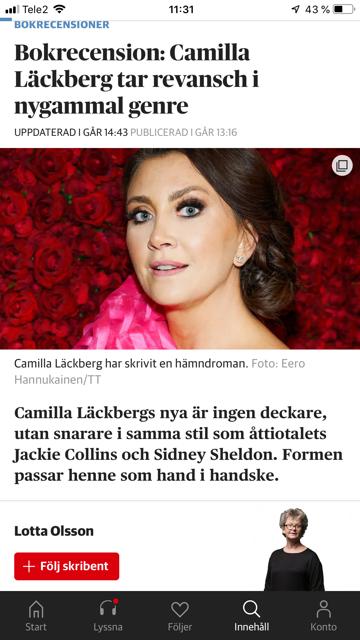 Hett sex utan texmexost – så hyllar läsarna nya Läckberg