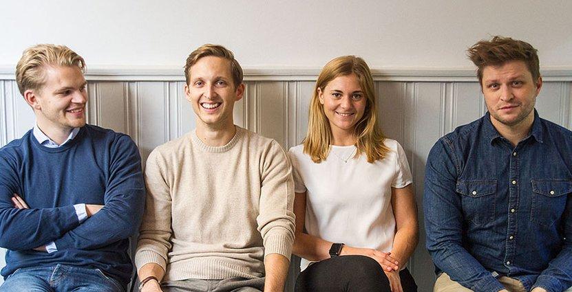 Karmas grundare: Hjalmar Ståhlberg Nordegren, vd, Ludvig Berling, produktchef, Elsa Bernadotte, ekonomichef och Mattis Larsson, teknikchef.