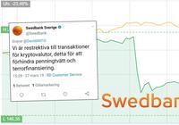 Swedbank stoppar kunder från att köpa kryptovalutor – för att