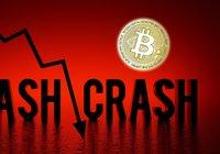 Mörkröda siffror för bitcoinpriset – rasade 14 procent i