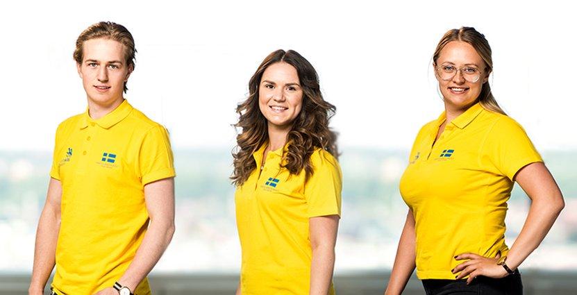 Gustav Leonhardt, Evelyn Piros och Hannah Forsberg representerar Sverige i Yrkes-EM.
