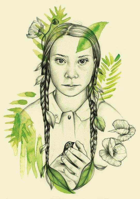 Greta Thunberg. Illustration av Julia Szulc