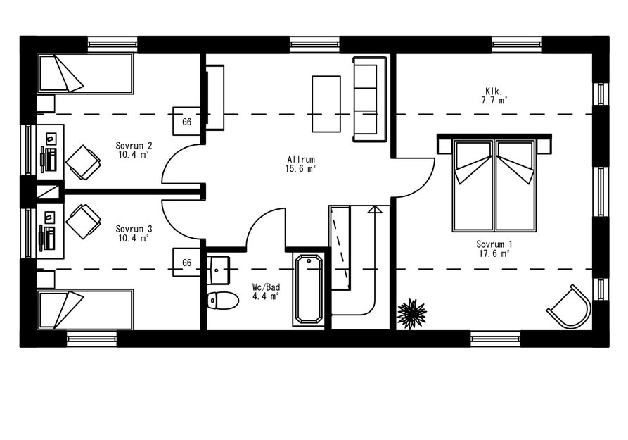 Planritning för Villa Klockestrand